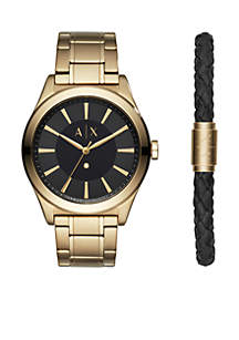 Men's Gold-Tone Stainless Steel Nico Diamond-Accent Bracelet Watch Gift Set