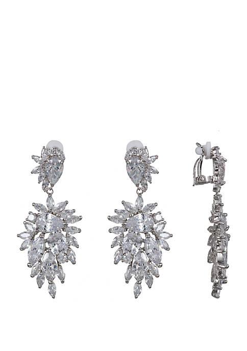 Cubic Zirconia Cluster Drop Clip Earrings