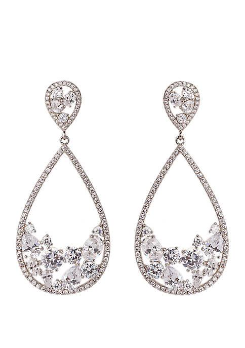 Open Teardrop Stone Cluster Earrings