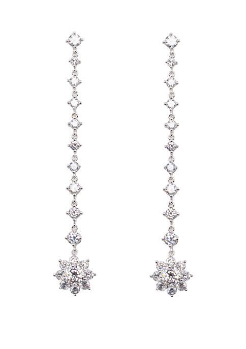 Small Flower Linear Drop Earrings