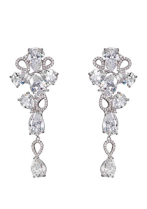 Silver Tone Cubic Zirconia Cluster Drop Earrings