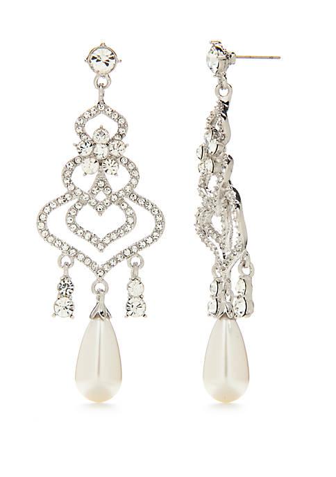 Chandelier Earrings with Pearl Drops