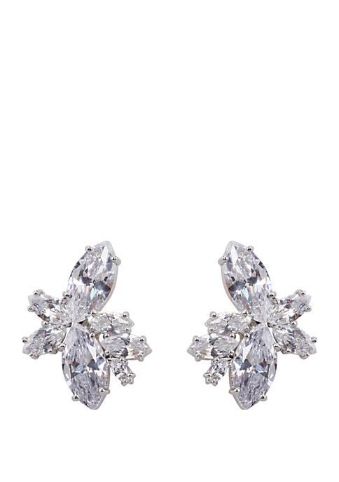 Rhodium Plated Stainless Steel Cluster Stud Earrings