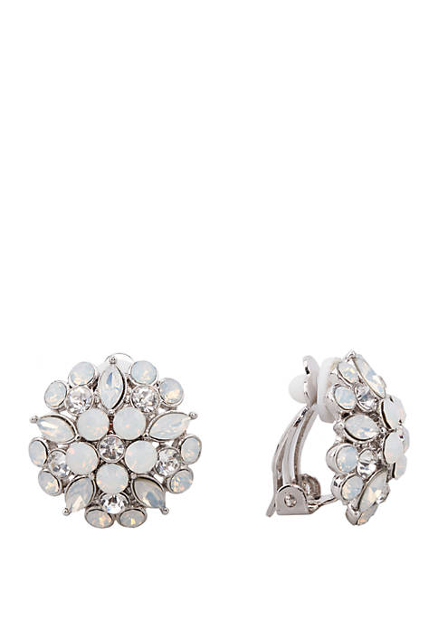 Floral Stud Clip Earrings