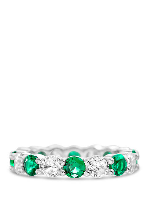 Belk Silverworks Sterling Silver Lab Created Emerald Cubic