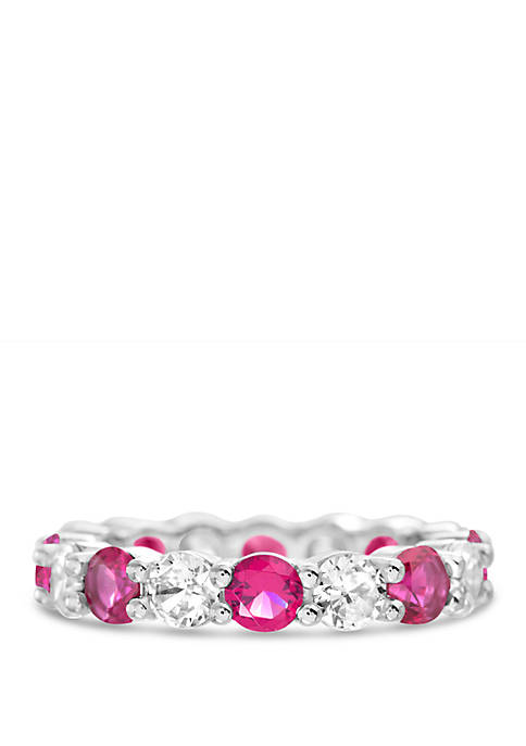 Sterling Silver Lab Created Ruby Cubic Zirconia Wedding Band