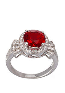 Created Round Ruby and Cubic Zirconium Ring in Sterling Silver