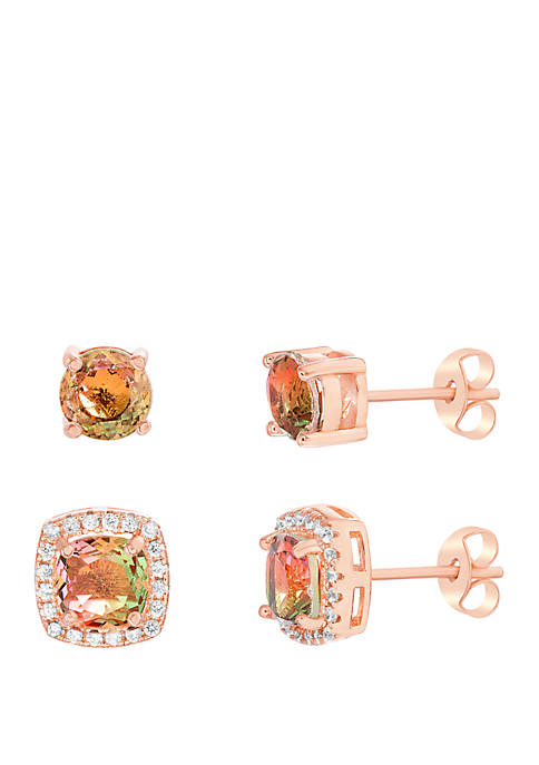 Rose Gold-Tone Sterling Silver Square Stud Earring Set