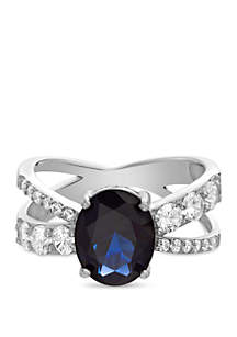 Sterling Silver Oval Blue Sapphire X Ring