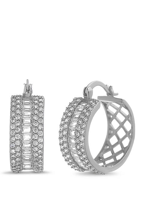 Belk Silverworks Cubic Zirconia Fancy Hoop Earrings