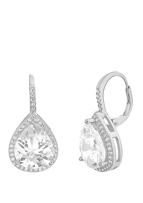 Cubic Zirconia Teardrop Lever Back Earrings