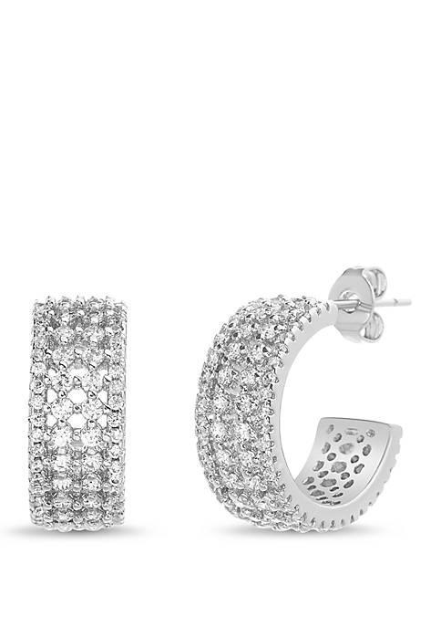 Belk Silverworks Cubic Zirconia Huggie Earrings