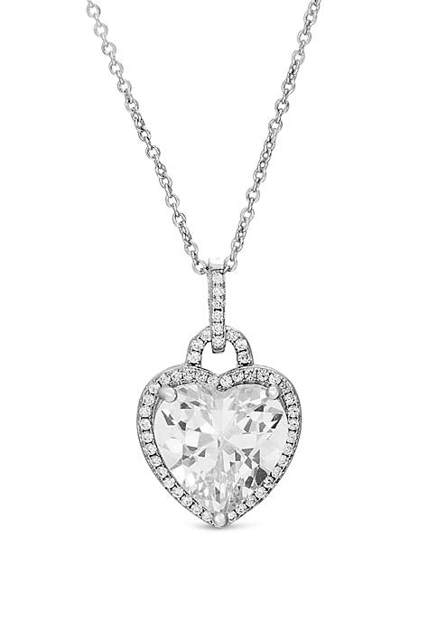 Fine Silver Plated Cubic Zirconia Heart Charm Necklace