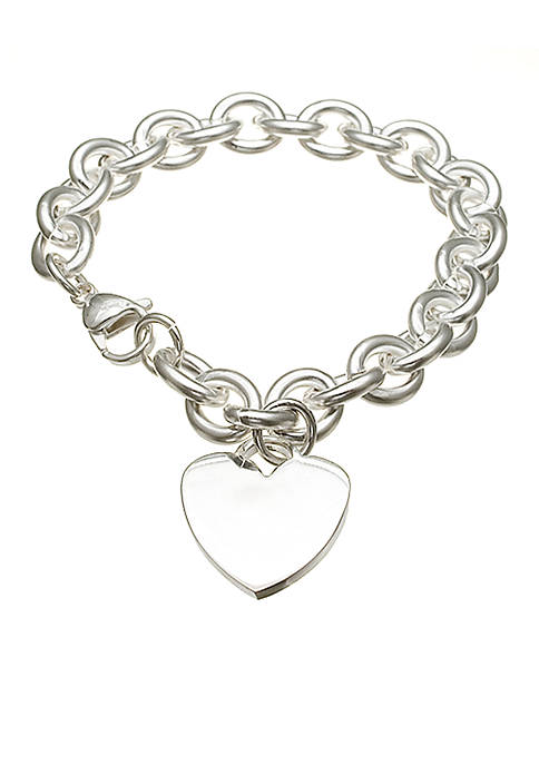 Silver-Plated Stainless Steel Heart Link Bracelet