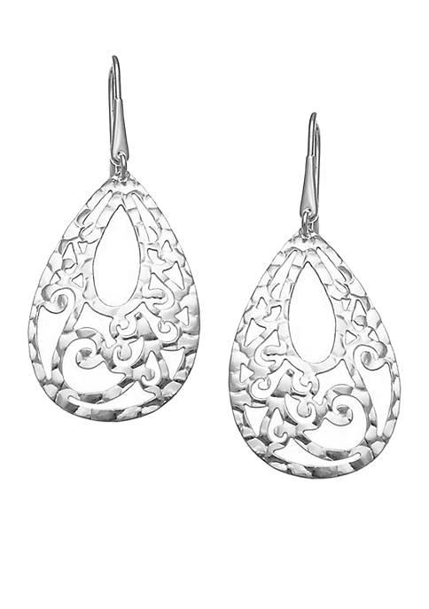 Silver-Plated Stainless Steel Filigree Earrings