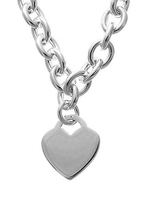 Belk Silverworks Silver-Plated Stainless Steel Heart Link