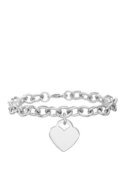 Belk Silverworks Fine Silver Plated Heart Tag Bracelet