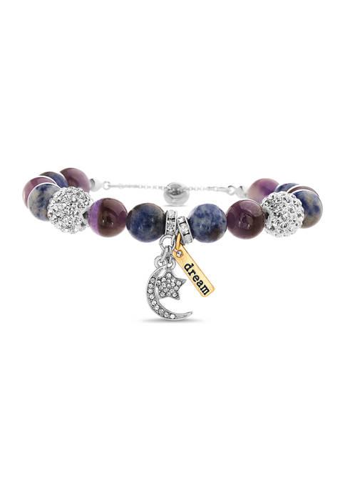 Multi Gem Cubic Zirconia Ball Crescent Star Bracelet