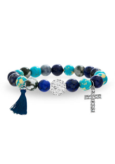 Fine Silver Plated Multi Blue Gemstone Beaded Stretch Bracelet