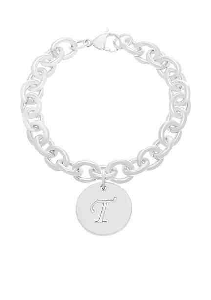 Belk Silverworks Silver-Tone Rolo Initial Bracelet ...