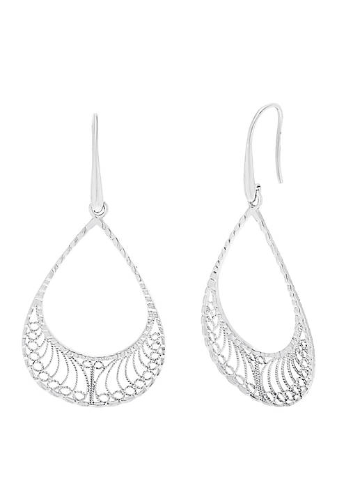 Sterling Silver Teardrop Filigree Earrings
