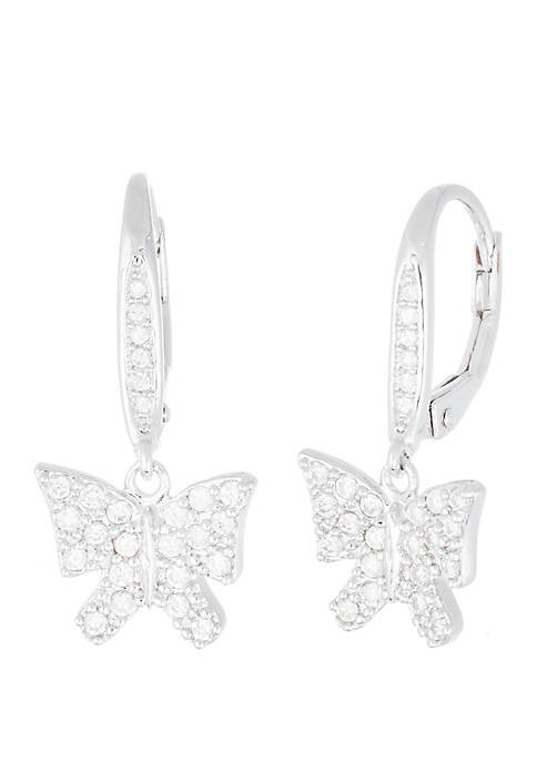 Rhodium Plated Sterling Silver Cubic Zirconia Butterfly Earrings