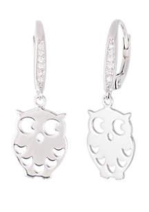 Belk Silverworks Sterling Silver Cubic Zirconia Owl Lever Back Earrings