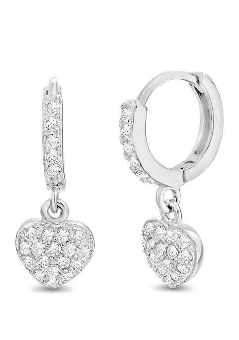 Belk Silverworks Sterling Silver Cubic Zirconia Heart Huggie