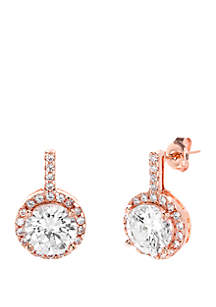 Rose Gold-Tone Sterling Silver Round Cubic Zirconia Halo Post Drop Earrings