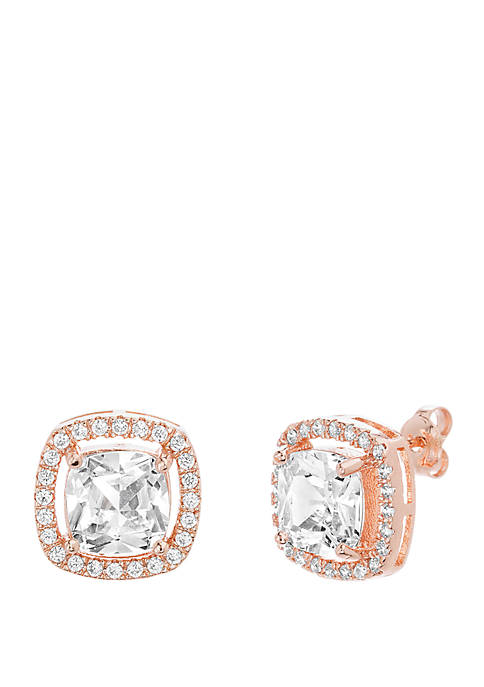 Rose Gold-Tone Sterling Silver Cushion Cubic Zirconia Halo Stud Earrings