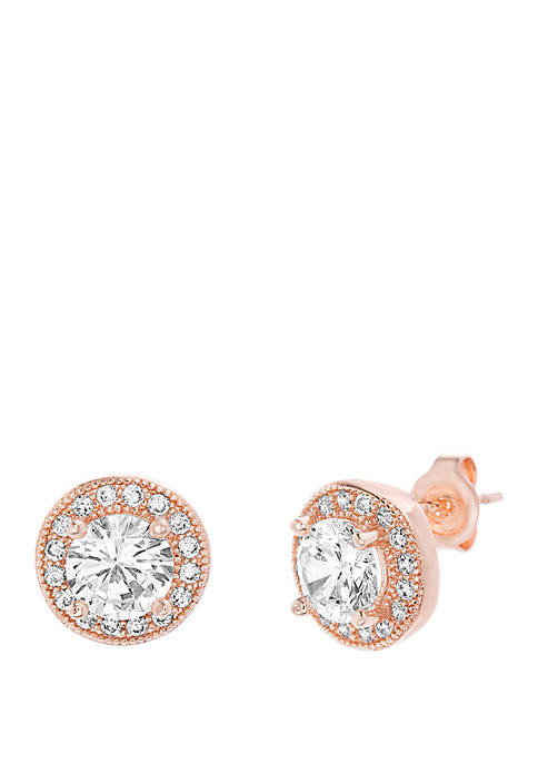Rose Gold-Tone Sterling Silver Round Cubic Zirconia Halo Stud Earrings