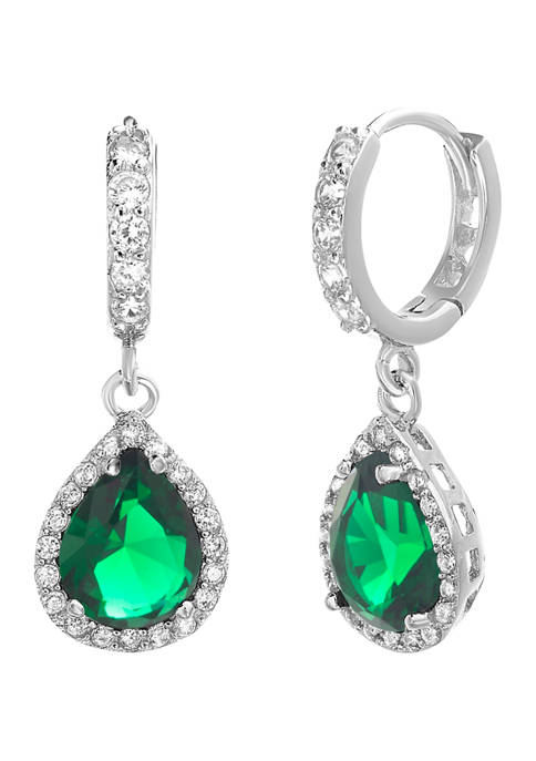 Belk Silverworks Sterling Silver Lab-Created Emerald and Cubic