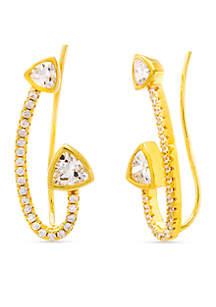 Gold-Tone Sterling Silver Cubic Zirconia Triangle Ear Crawler Earrings