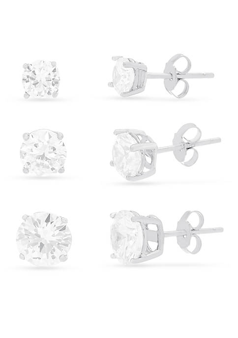 Rhodium Plated Sterling Silver Cubic Zirconia Round Trio Stud Earrings Set
