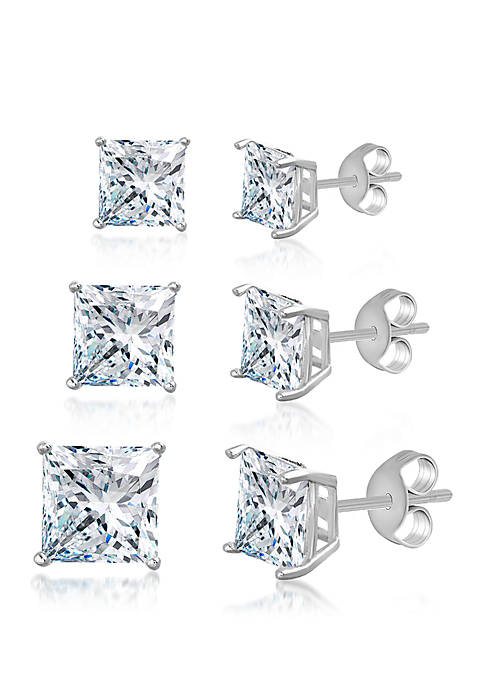 Sterling Silver Square Stud Earring Trio