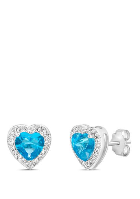 Belk Silverworks Sterling Silver Blue Cubic Zirconia Heart
