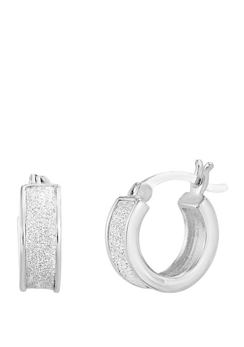 Sterling Silver Glitter Huggie Hoop Earrings
