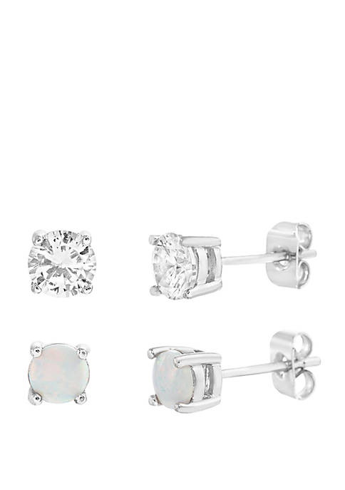 Sterling Silver Opal and Clear Cubic Zirconia Stud Set