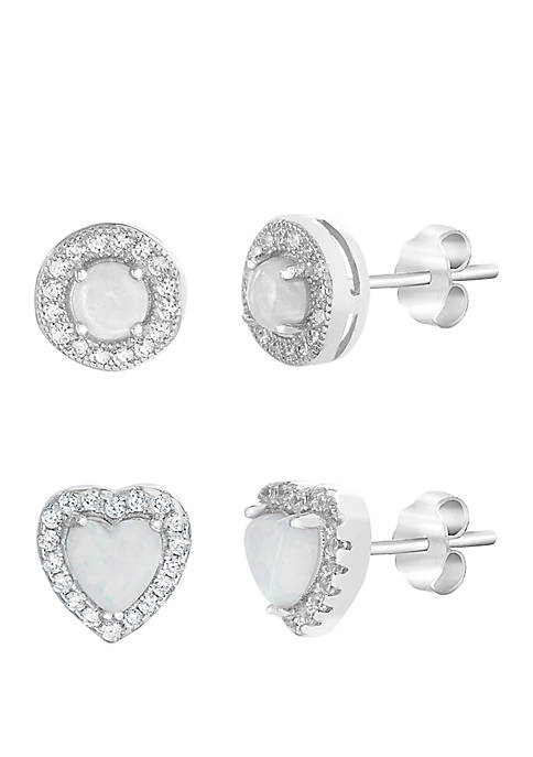 Opal Cubic Zirconia Heart Earring Duo in Sterling Silver