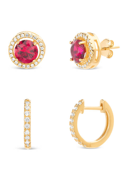14k Gold Lab Created Ruby and Cubic Zirconia Halo Stud and Hoop Earring Set