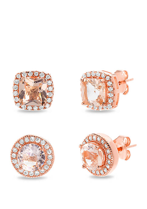 Rose Gold Sterling Silver Earring Set