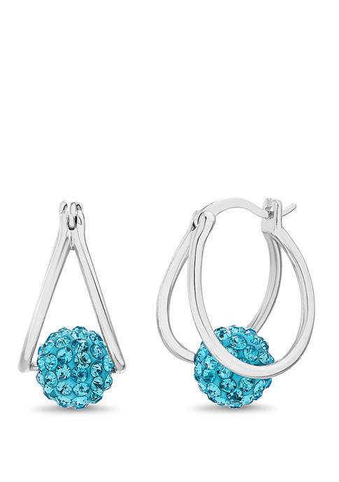 Sterling Silver Aqua Swarovski Crystal Fireball Hoop Earrings