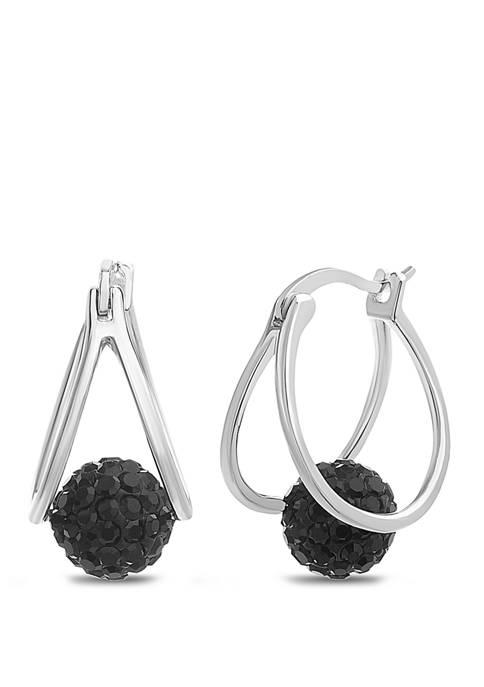 Belk Silverworks Sterling Silver Black Swarovski Crystal Fireball