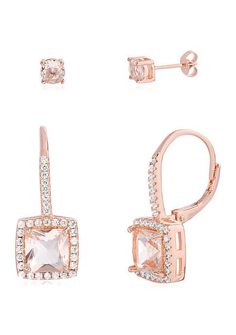 Belk Silverworks Rose Gold-Tone Cubic Zicronia Morganite Earring