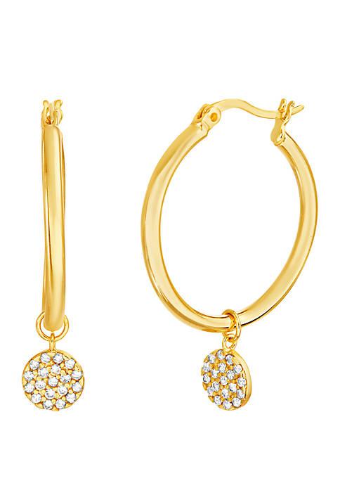 Sterling Gold Cubic Zirconia Disc Charm Hoop Earrings