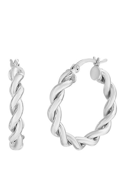 Belk Silverworks Sterling Rope Design Hoop Earrings