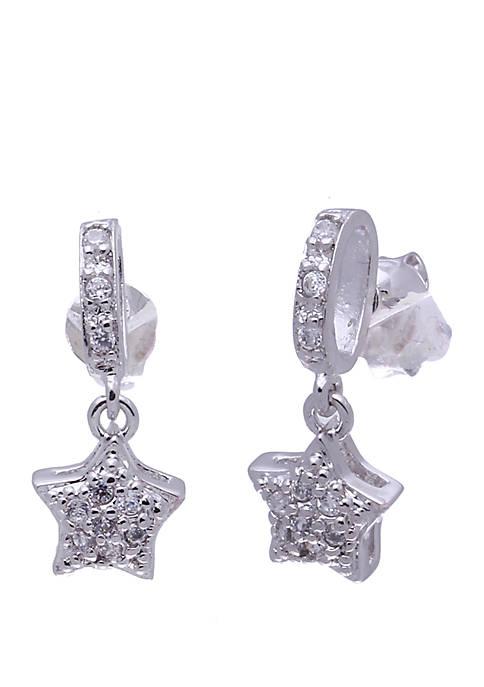 Sterling Silver Dangling Cubic Zirconia Star Earrings