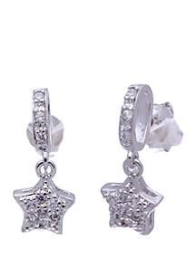 Belk Silverworks Sterling Silver Dangling Cubic Zirconia Star Earrings