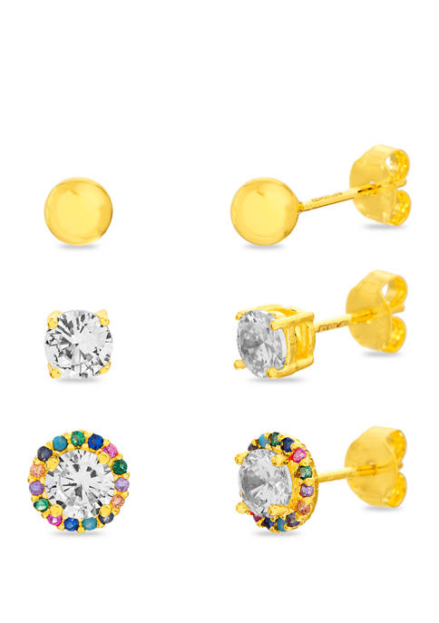 14k Gold Over Sterling Silver Cubic Zirconia Trio Stud Earrings Set