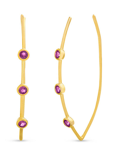 Gold over Sterling Silver Lab Created Ruby Threader Earrings